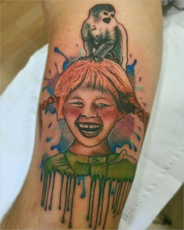 Watercolor Baby Smiling Tattoo