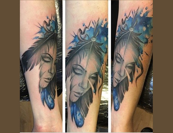 Beautiful Woman Watercolor Tattoo
