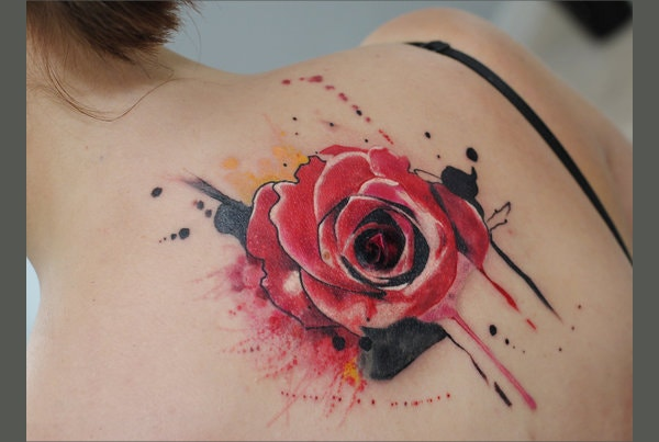 Red Rose Watercolor Tattoo