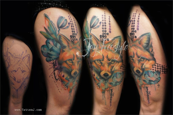 Fox Watercolor Tattoo