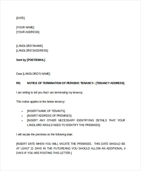 two weeks tenant notice letter example