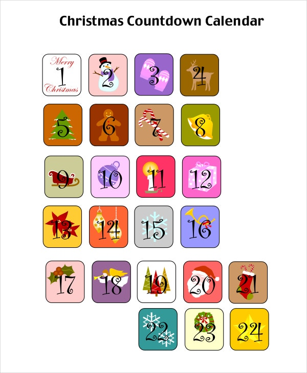 Printable Christmas Countdown Calendar Template