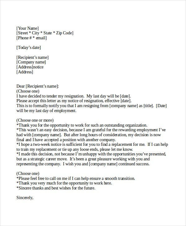 two weeks resignation notice letter example