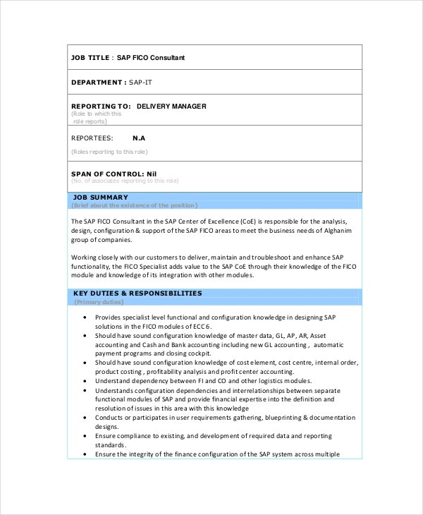 oracle hrms functional consultant resume - Sap Fico Resume Sample