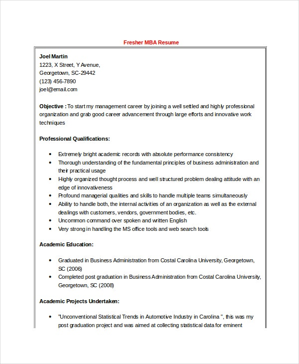 Mba Resume Samples Mba Sample Resume For Freshers Finance Mba Hr