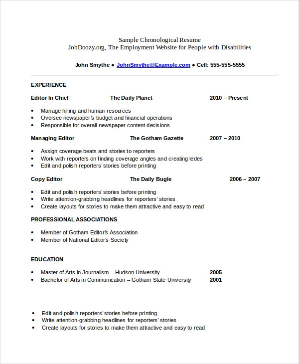 Chronological Resume Template Word. Template For Chronological