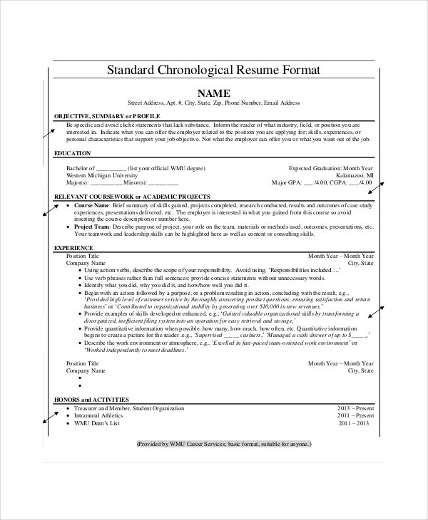 Chronological Resume Template Download  Examples Of A Chronological Resume