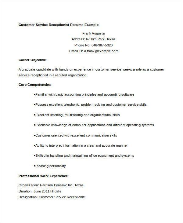 Customer Service Receptionist Resume Example