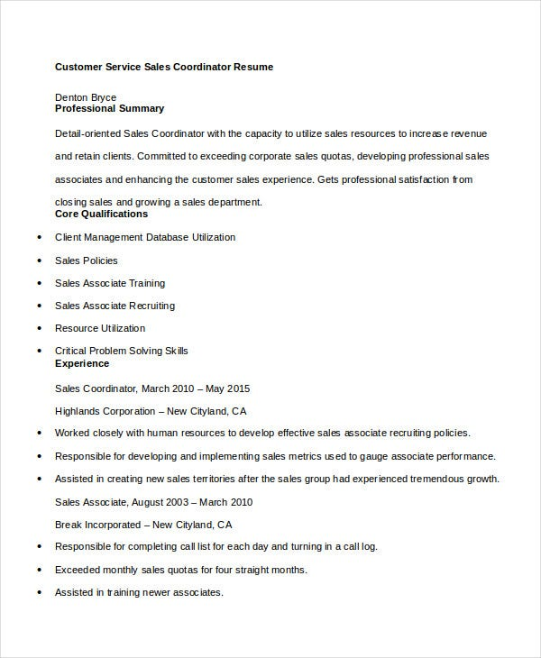 customer-service-sales-coordinator-resume