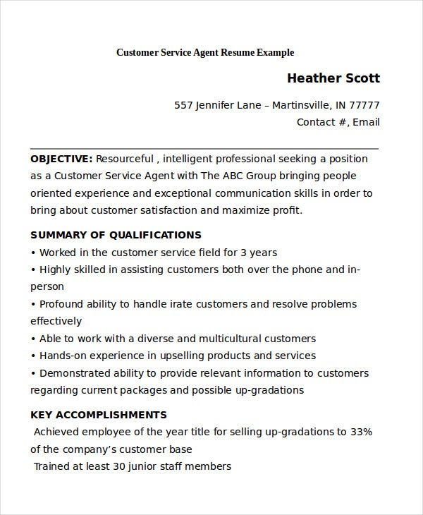 customer service agent resume