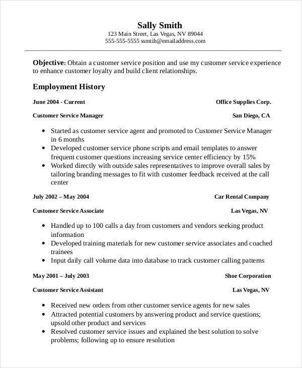 professional customer service associate resume template - Customer Service Resume