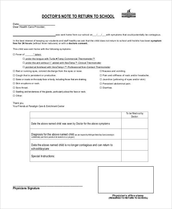 Doctors Note Template   Free Word Pdf Documents Download