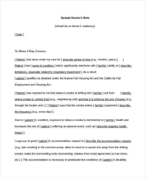 Doctors Note Template - 8+ Free Word, PDF Documents Download ...