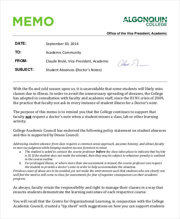 student-doctors-note-memo-template