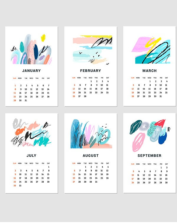 Different Color Printable Calendar Template