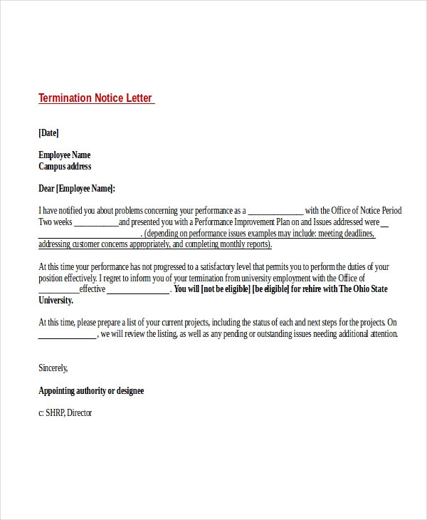 10 two weeks notice letter examples free premium templates two weeks termination notice letter example spiritdancerdesigns Gallery