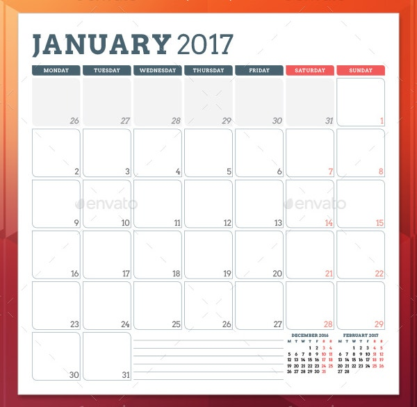 printable 2017 monthly planner template