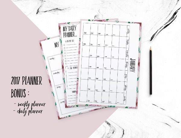 Printable Floral Background Calendar Template