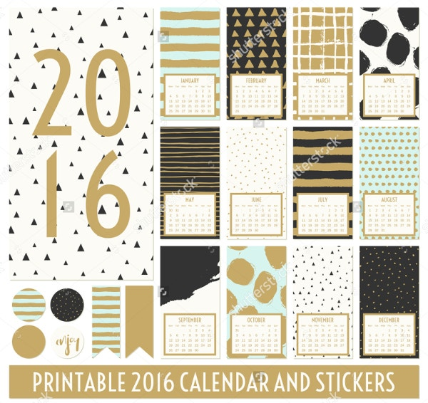 Hand Drawn Patterns Printable Calendar