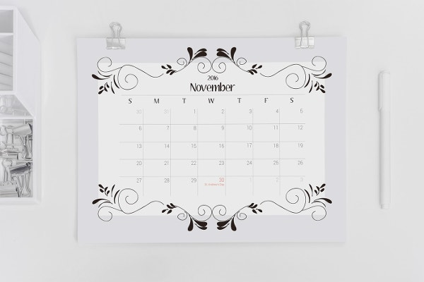 Printable Holidays Notes Calendar Template