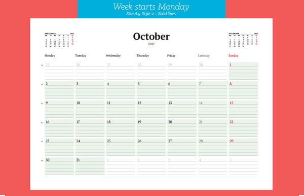printable montly white background calendar