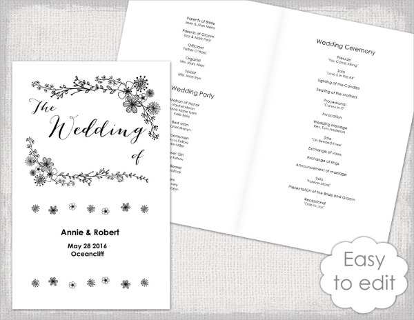 17  wedding program template