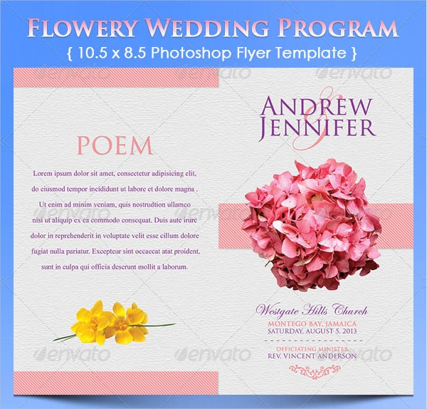 Flowery Wedding Program Template