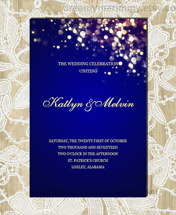 printable navy wedding program template