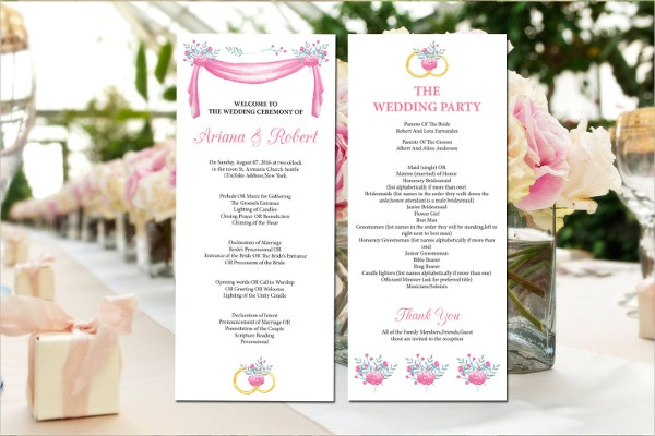 Printable Wedding Program Template