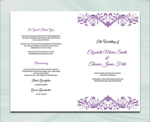 Purple Wedding Program Booklet Template