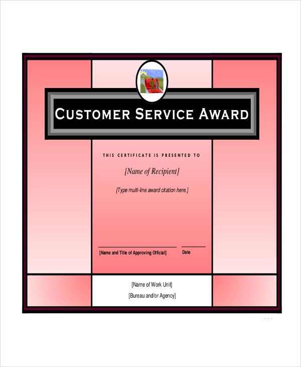 Service Award Certificate Templates
