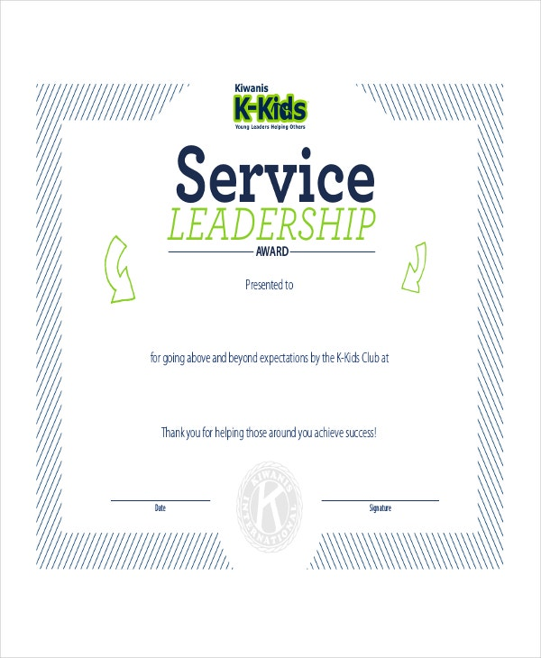 Leadership Award Certificate Example