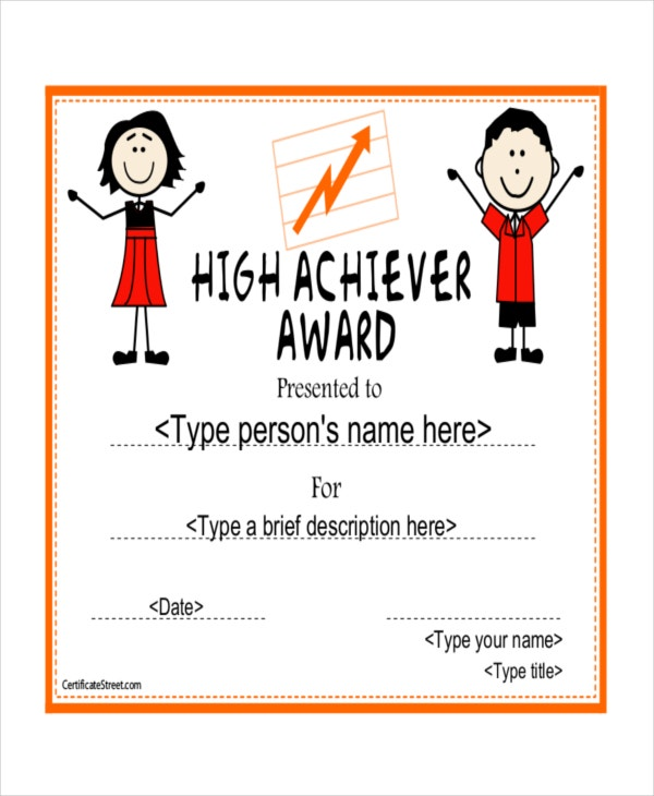 High School Achiver Award Certificate Example