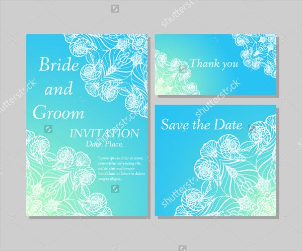 vector set of wedding invitation thnk you card