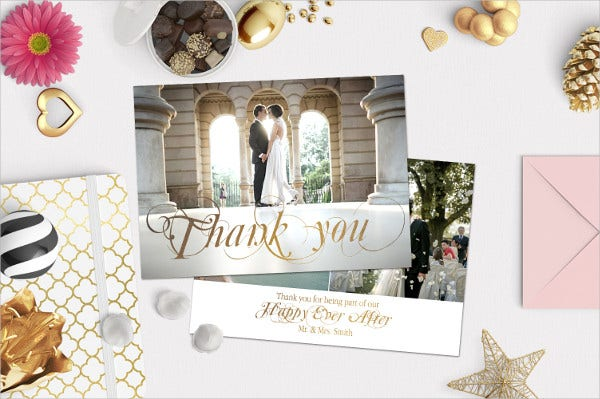 golden days wedding thank you card