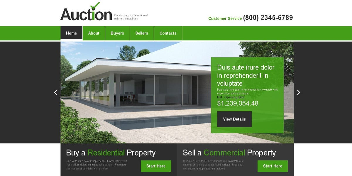 Premium Real Estate Agency Moto CMS Template $1