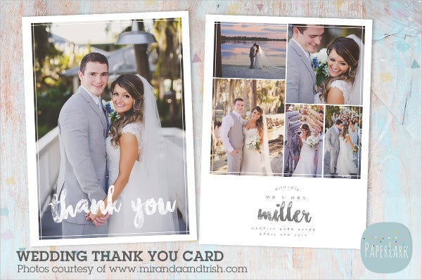 modern wedding thank you card