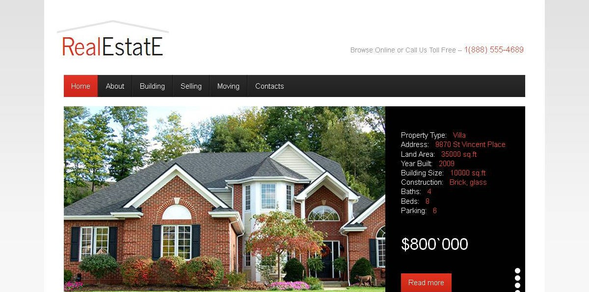 Real Estate & Company Moto CMS Template $139