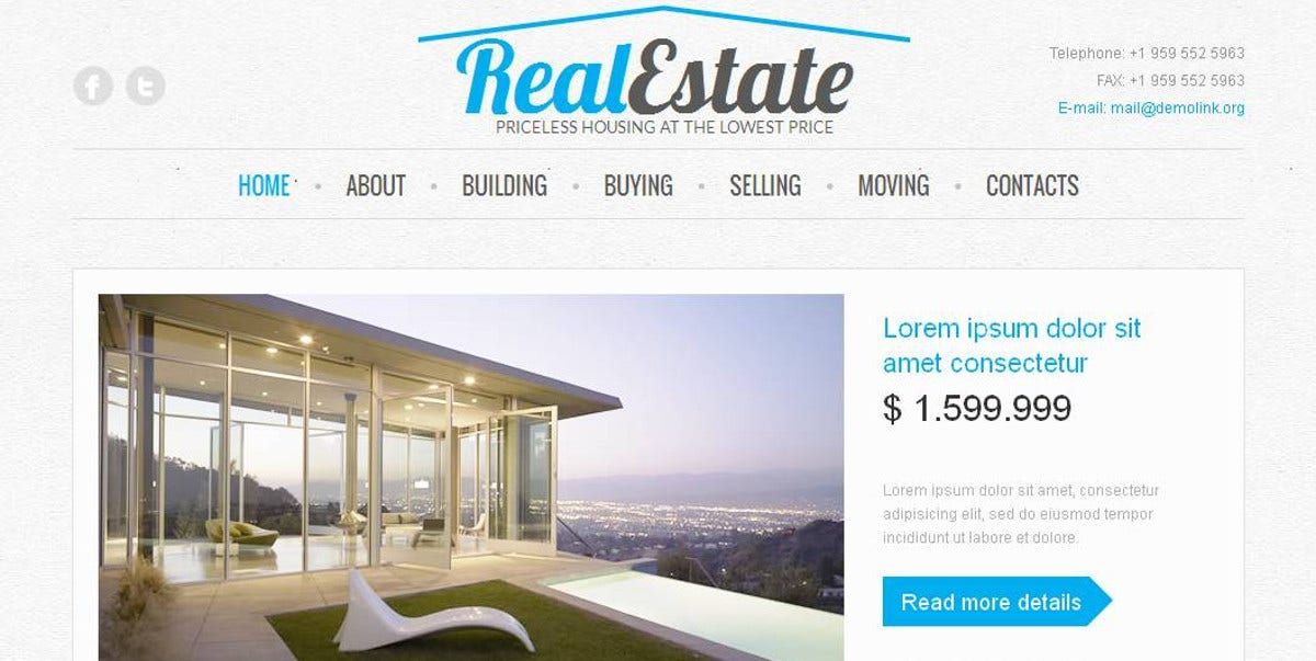 Real Estate Services Moto CMS Template $139