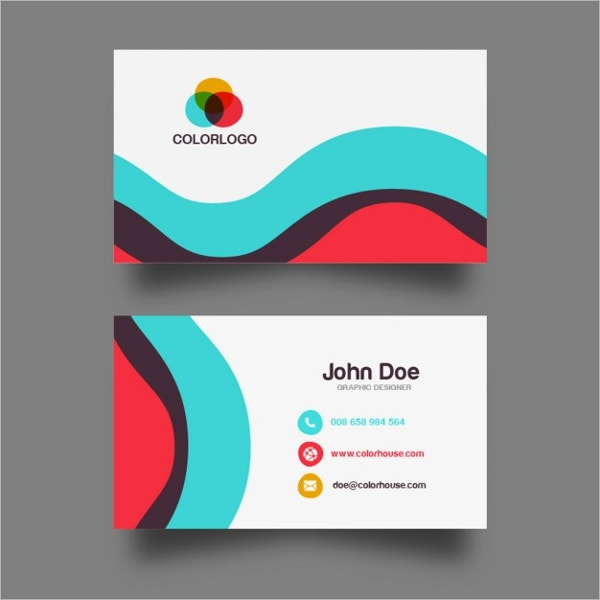 25 free business cards psd vector eps png format download colorful wave business card design free vector reheart Image collections