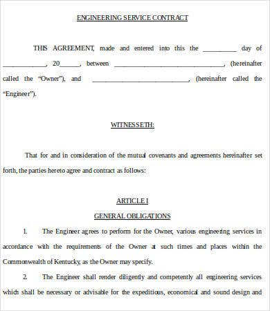 Engineering Service Contract Template In Word  Free Service Contract