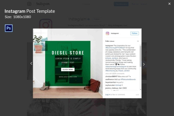 Instagram Diesel Store Post