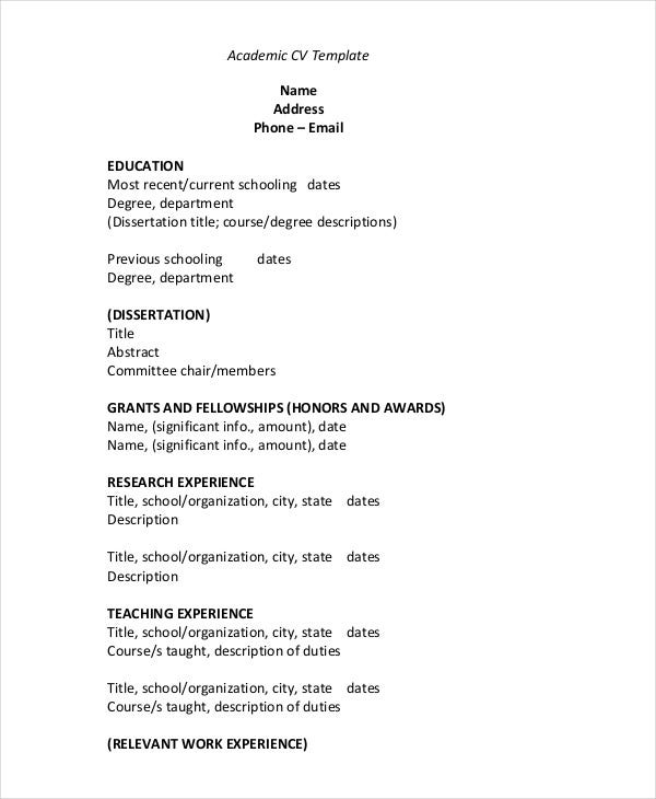 academic cv template - Cv Sample Download In Word