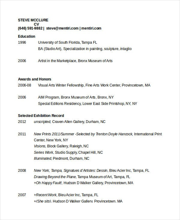 artist resume templates artist cv template artist resume - Samples Of Resume Pdf