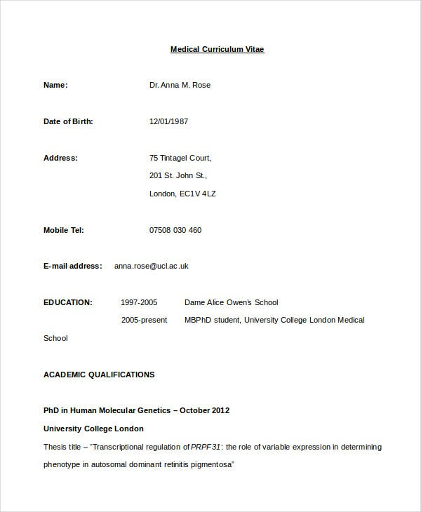 medical cv template - Format Of An Resume