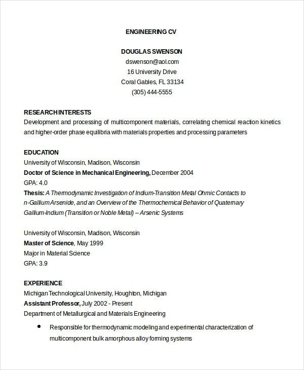 cv samples for mechanical engineers