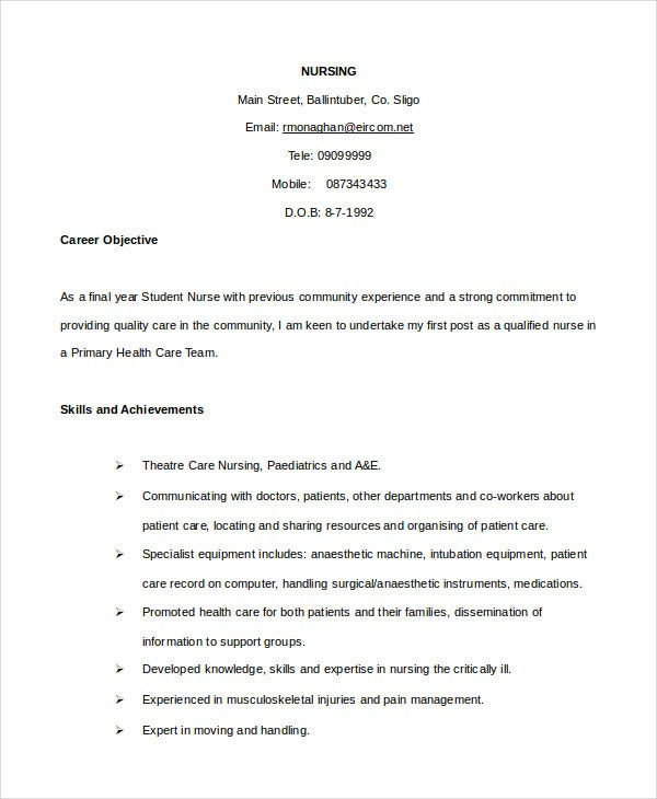 Nurse Cv Template Certified Nursing Assistant Experienced Resume
