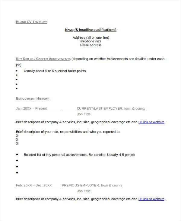 Cv Template - 20+ Free Word, Pdf Documents Download | Free