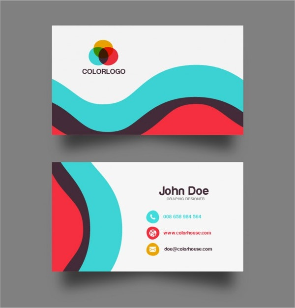 Colorful Wave Business Card Design Free Vector