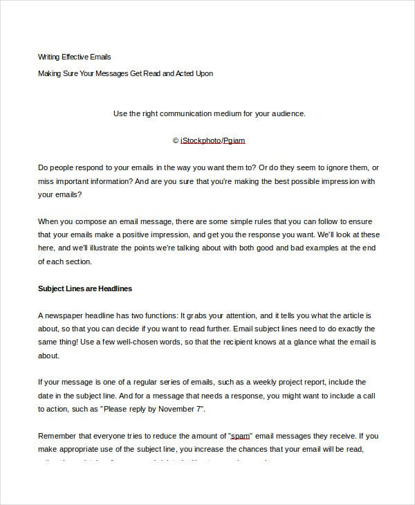 email writing template